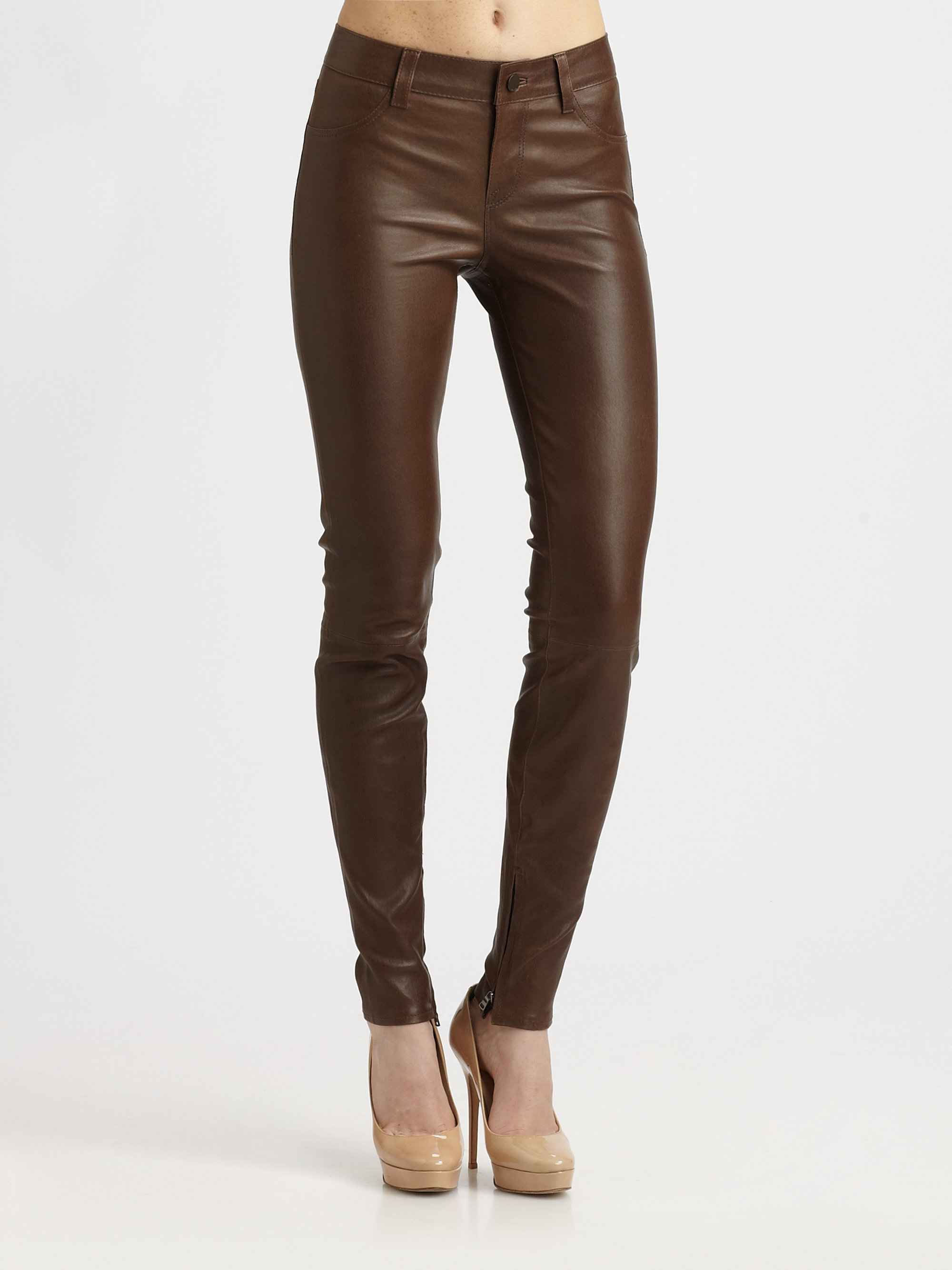 Vince Washed Leather Pants In Brown Lyst
