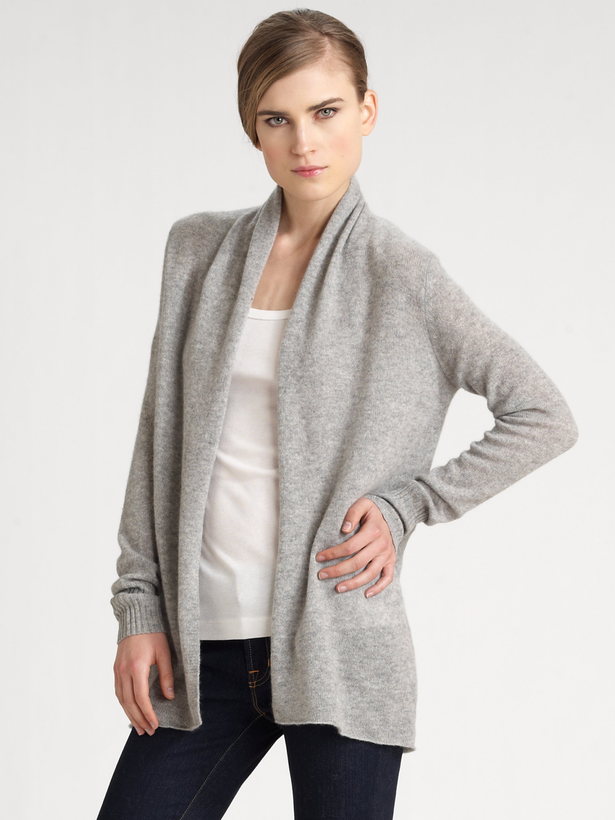 White   warren Cashmere Cardigan in Metallic | Lyst