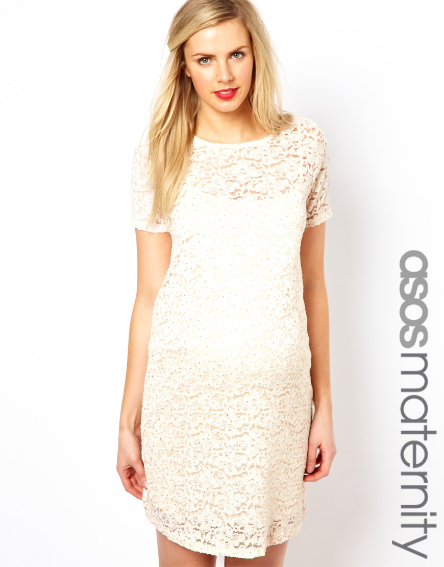 Lyst asos asos maternity shift dress in lace with sparkle detail gallery ombrellifo Image collections