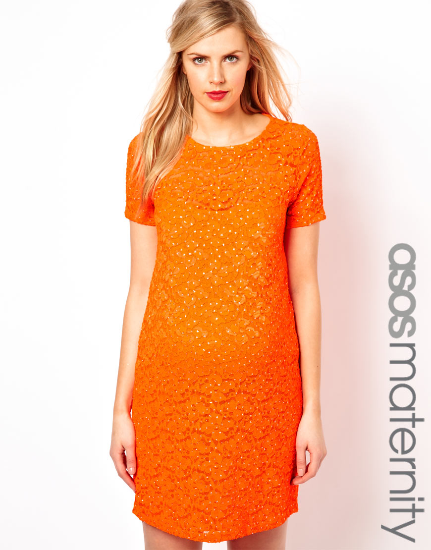 Asos asos maternity shift dress in lace with sparkle detail in gallery ombrellifo Images