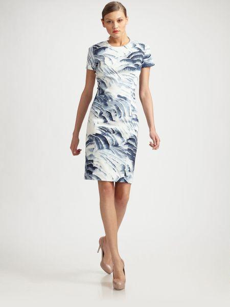 Carolina Herrera Printed Stretch Cotton Dress in White ...
