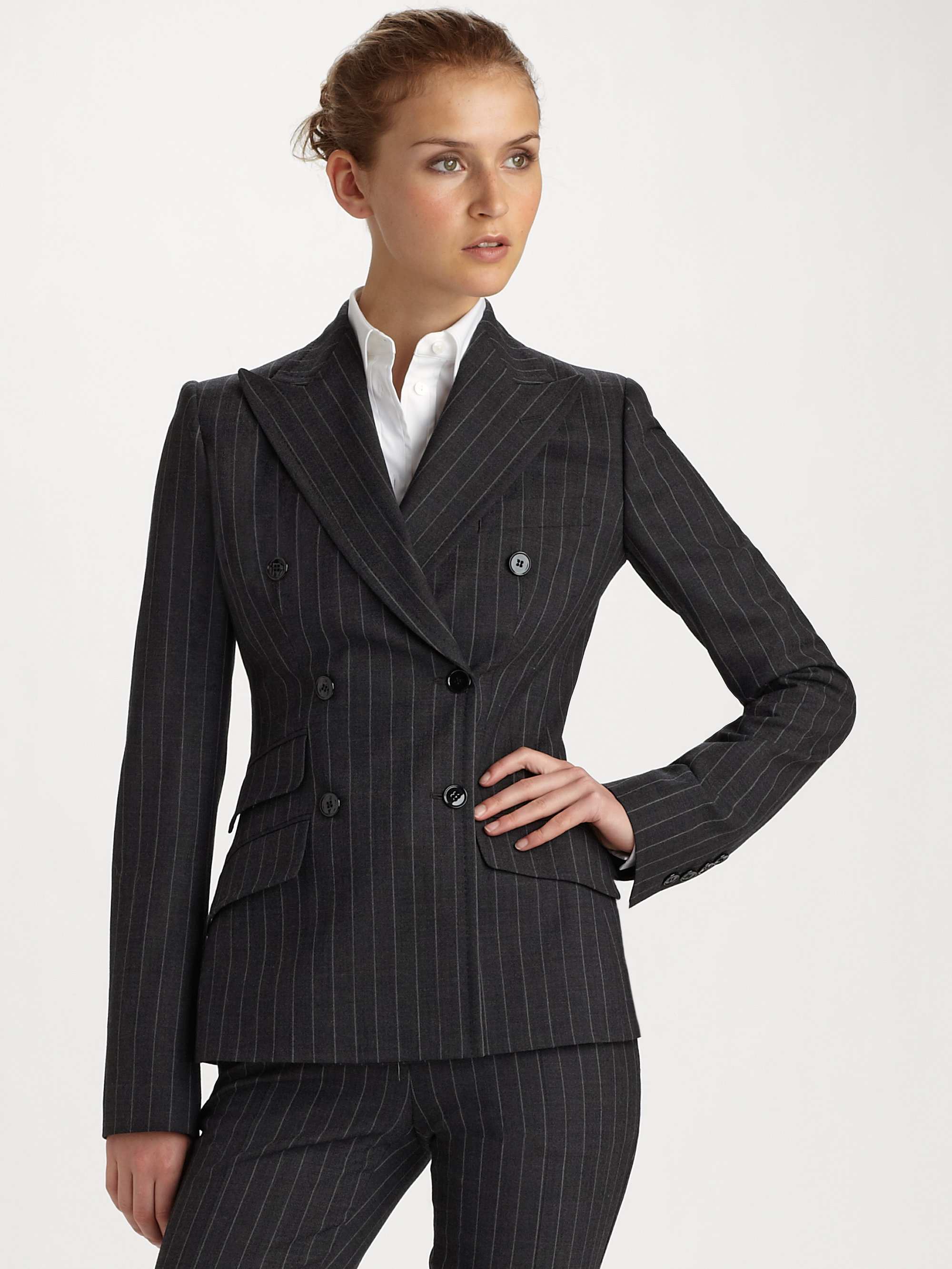Dolce & gabbana Double-breasted Pinstripe Jacket in Gray | Lyst