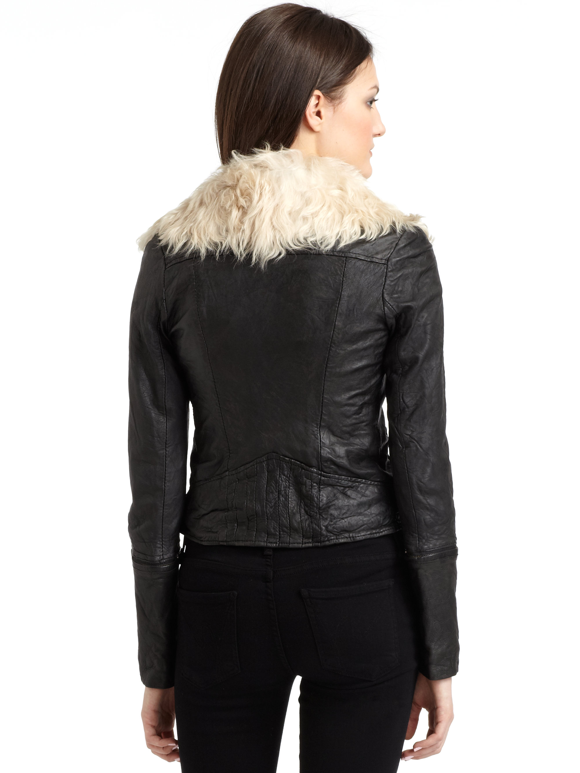 Doma Leather Leather Jacket With Goat Fur Collar In Black