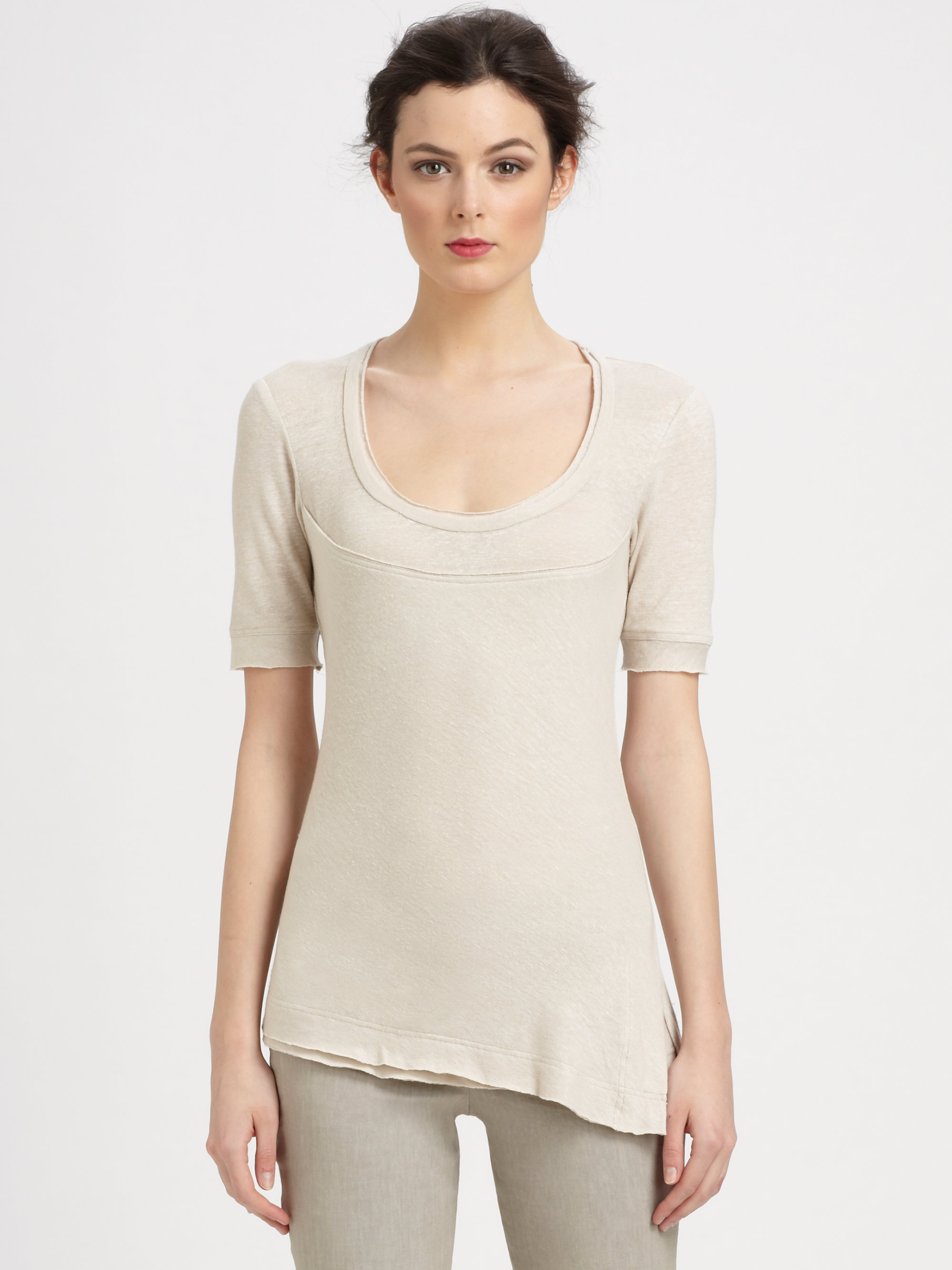 Donna karan new york stretch linen layered tee in beige for Donna karen new york
