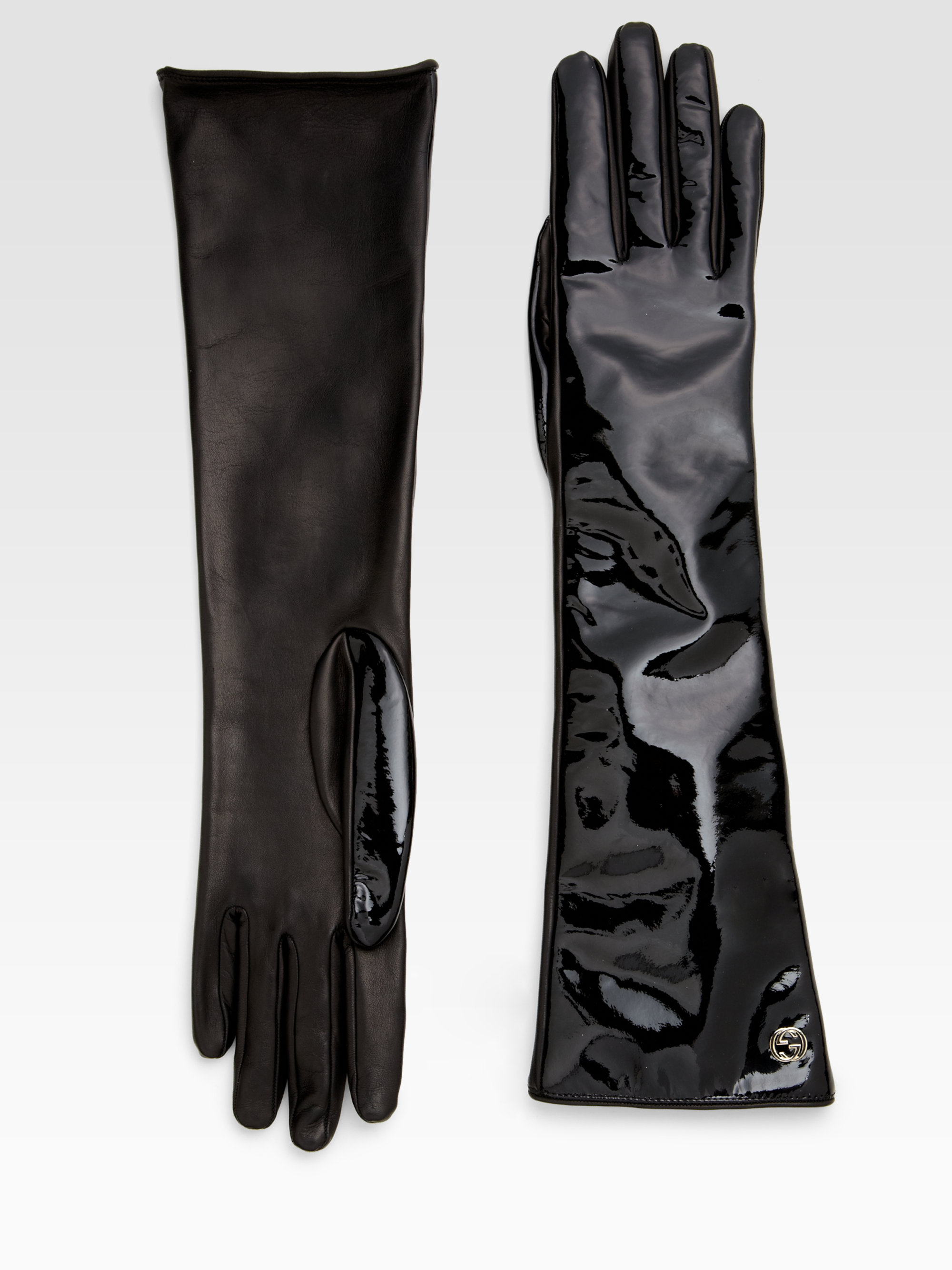 Black patent leather gloves -
