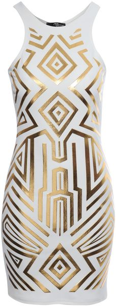 Jane Norman Geometric Foil Print Bodycon Dress - Lyst
