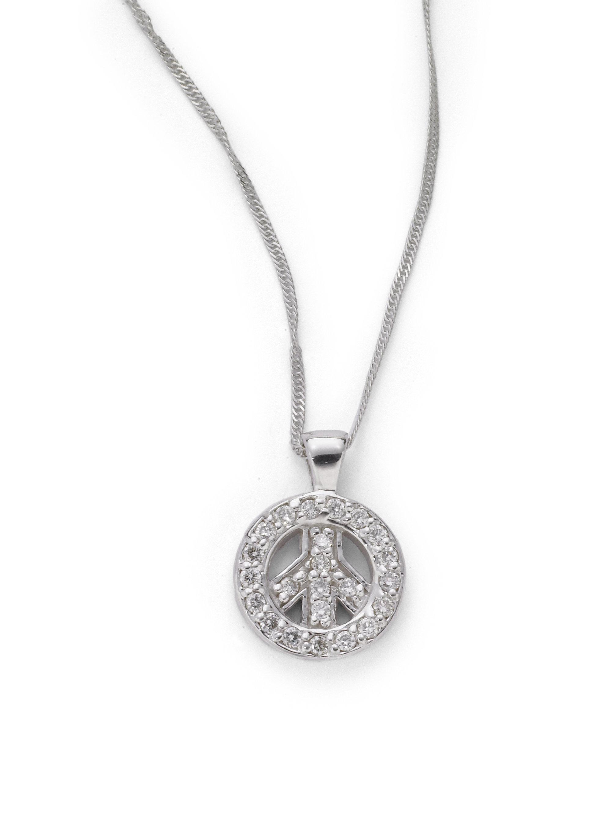 kc designs diamond small peace sign pendant necklace in. Black Bedroom Furniture Sets. Home Design Ideas
