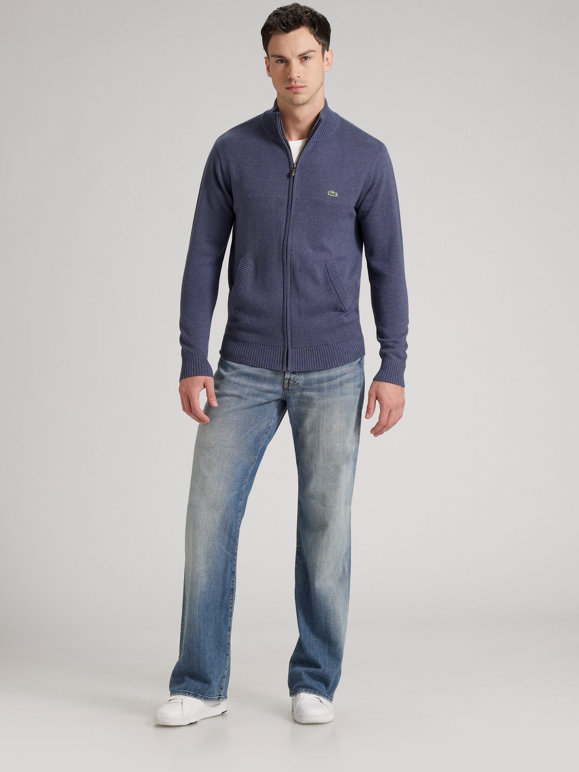 72e0d17d61b537 Lyst - Lacoste Zipfront Cardigan Sweater in Blue for Men