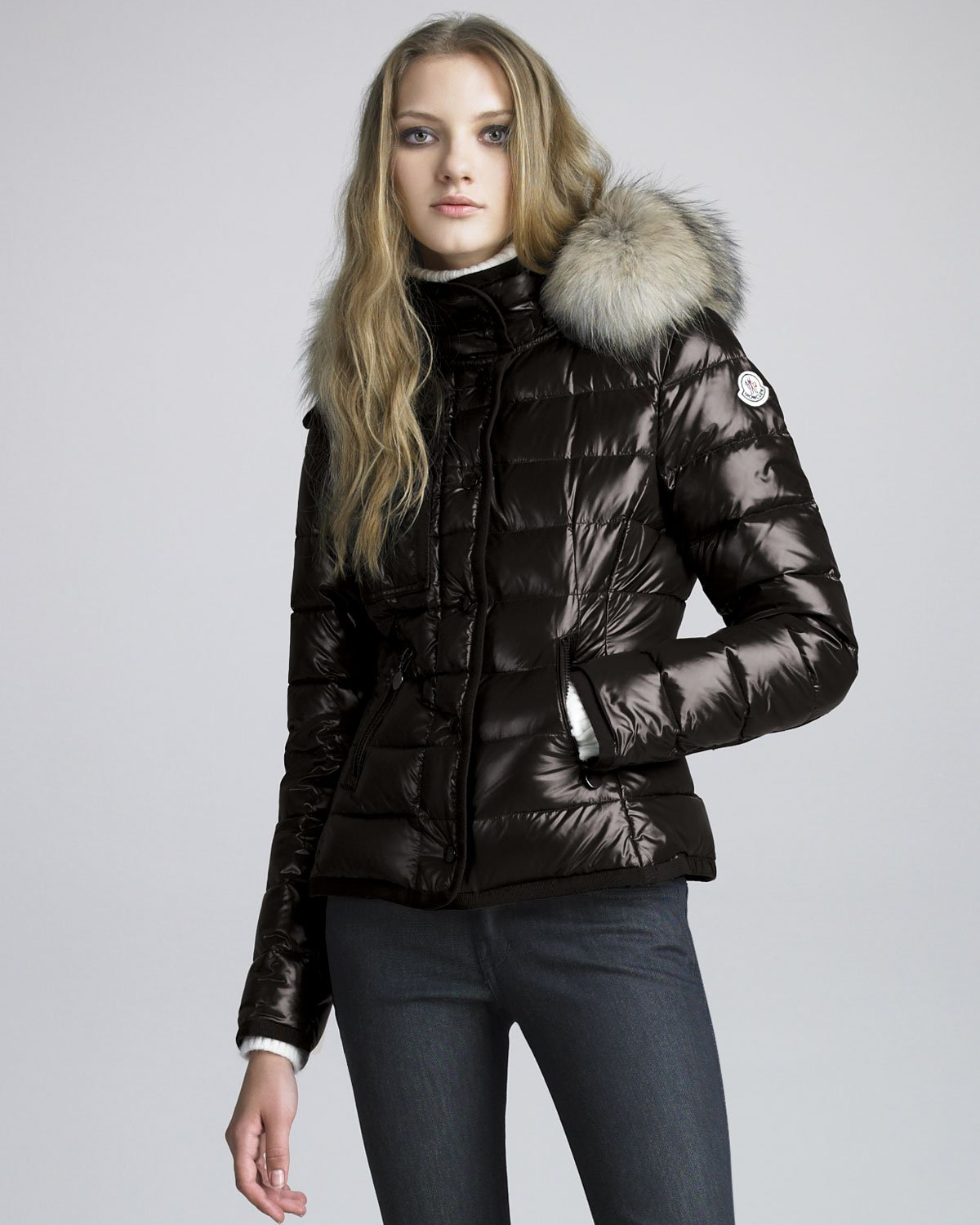 Moncler Short Coyotetrim Lacquered Puffer Coat in Black | Lyst