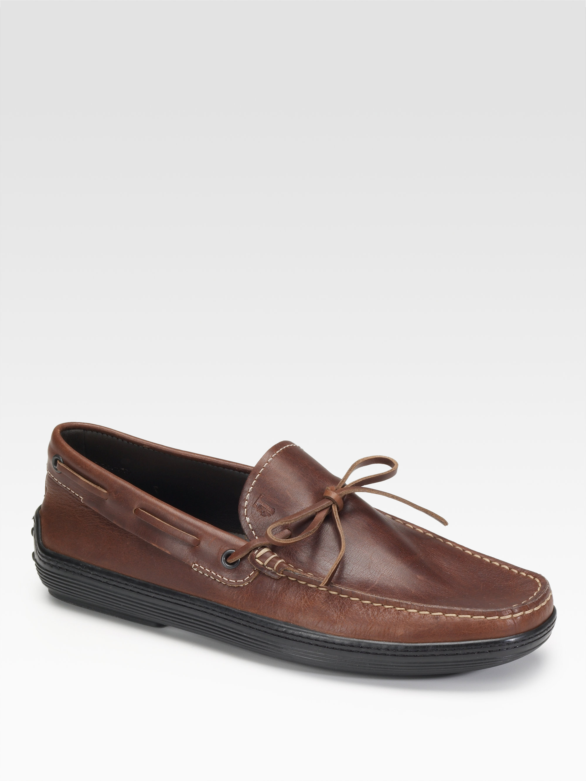 tod s laccetto leather boat shoes in brown for
