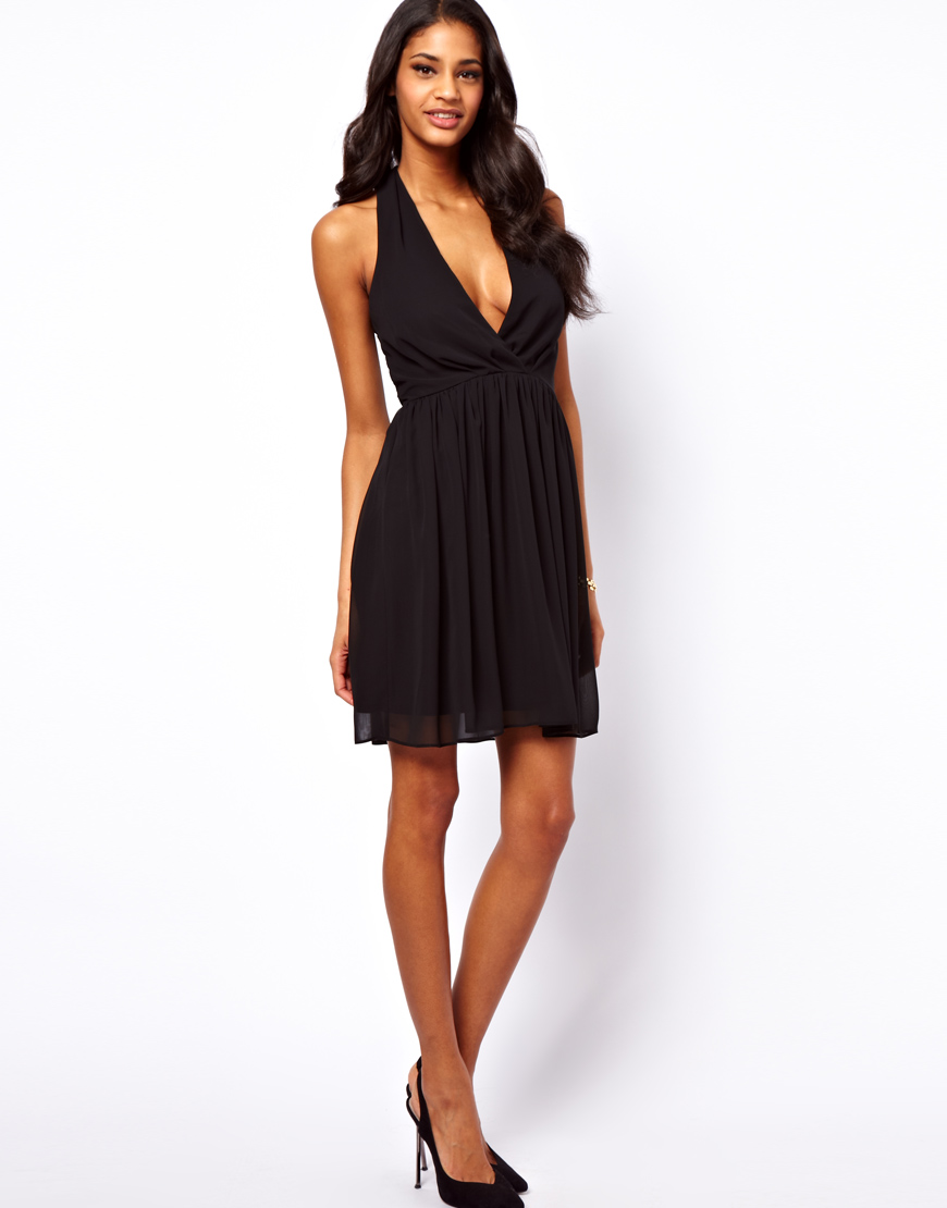 Lyst Asos Collection Skater Dress With Sexy Halter Neck
