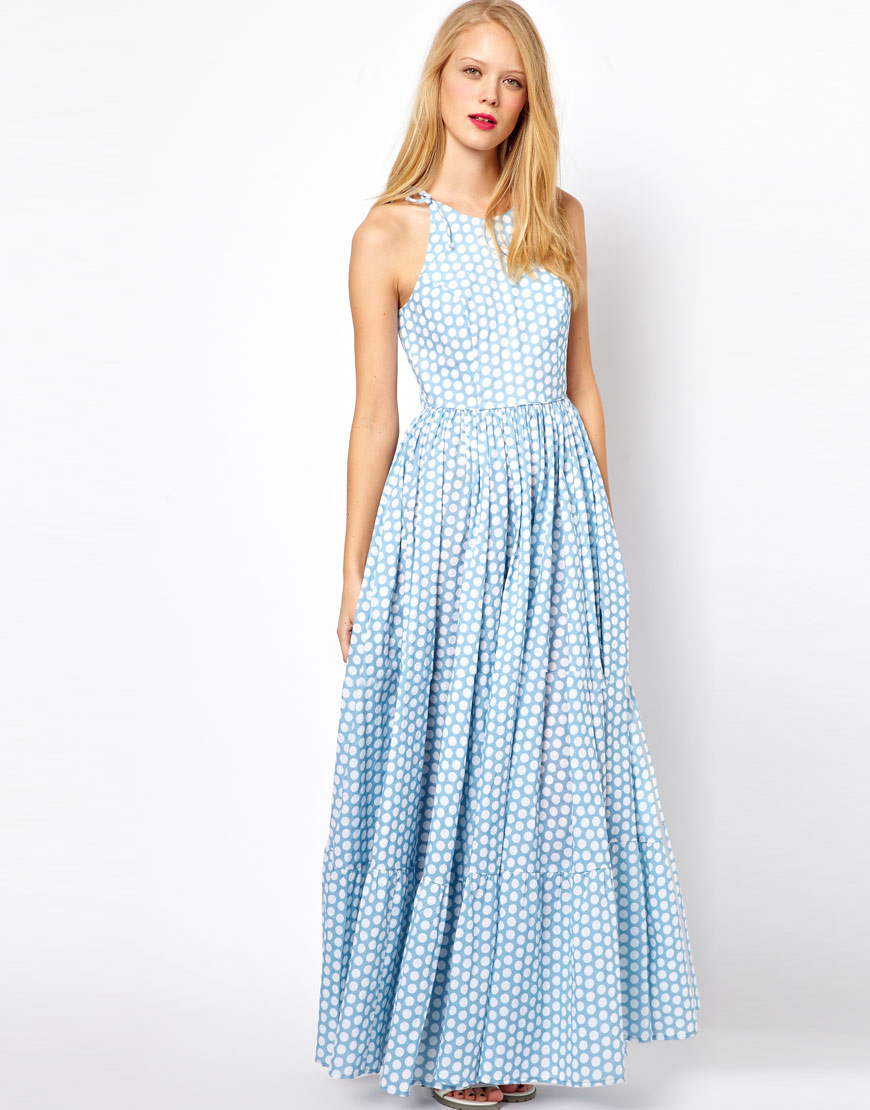 Asos collection Asos Maxi Dress in Spot Print in Blue | Lyst