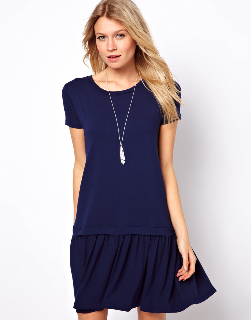 Asos collection T-Shirt Dress with Drop Waist in Blue | Lyst
