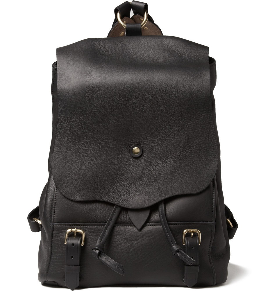 Bill amberg hunter leather backpack in black for men lyst