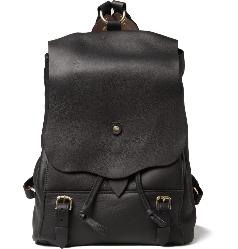 bill amberg hunter leather backpack in black for men lyst. Black Bedroom Furniture Sets. Home Design Ideas
