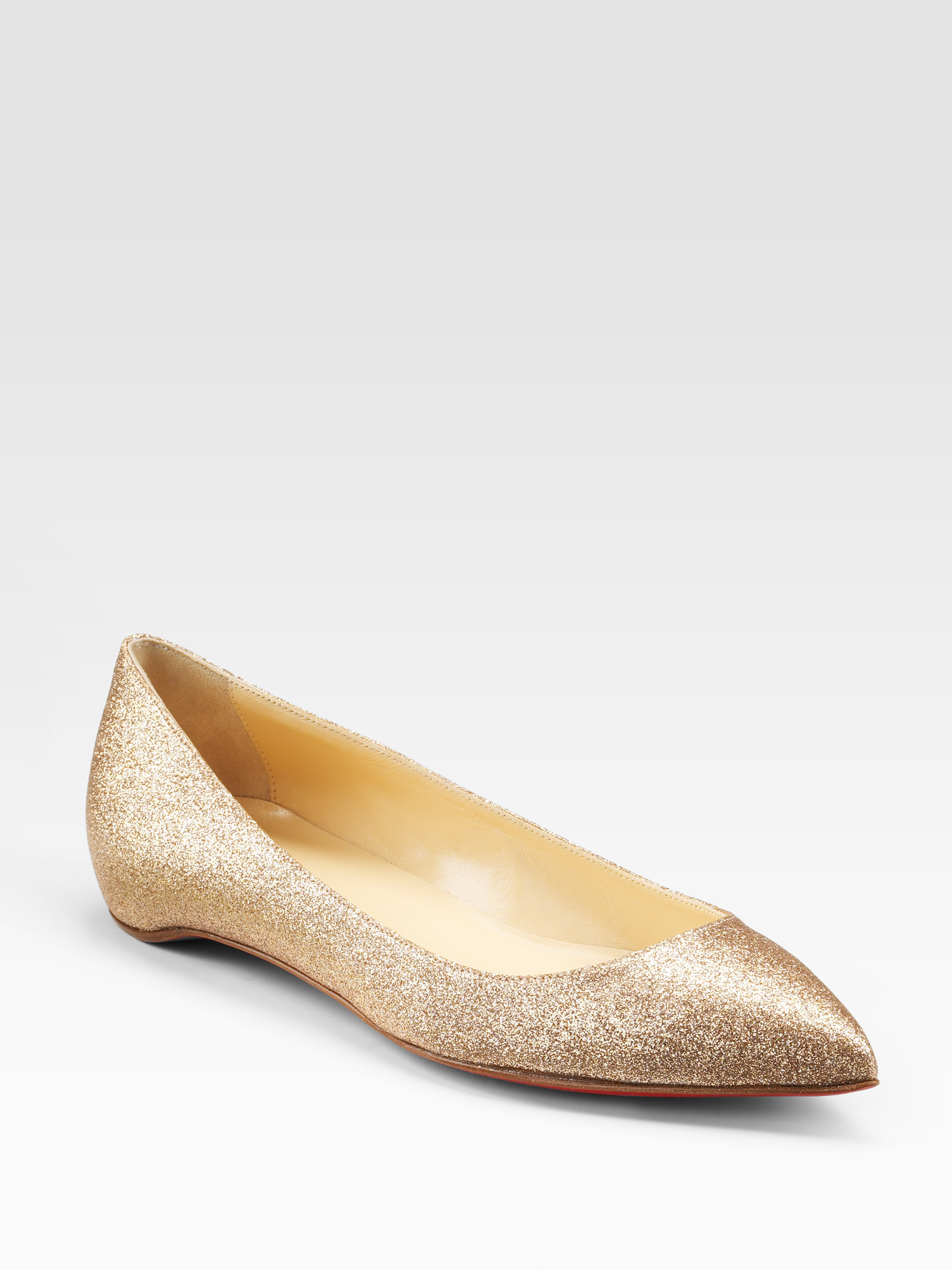 64731b6eeae9 Lyst - Christian Louboutin Pigalle Glittercovered Leather Ballet ...