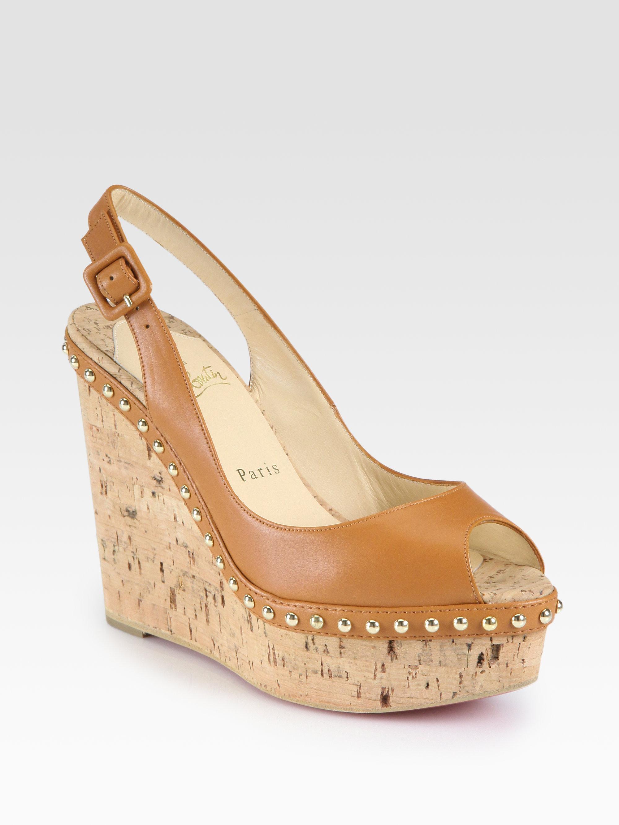 christian louboutin peep-toe wedges Tan patent leather cork design ...