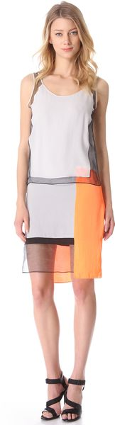 Helmut Lang Chroma Drape Colorblock Dress - Lyst