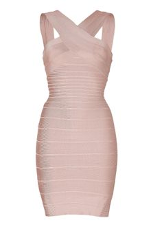 Hervé Léger Stella Vneck Bandage Dress in Bare - Lyst
