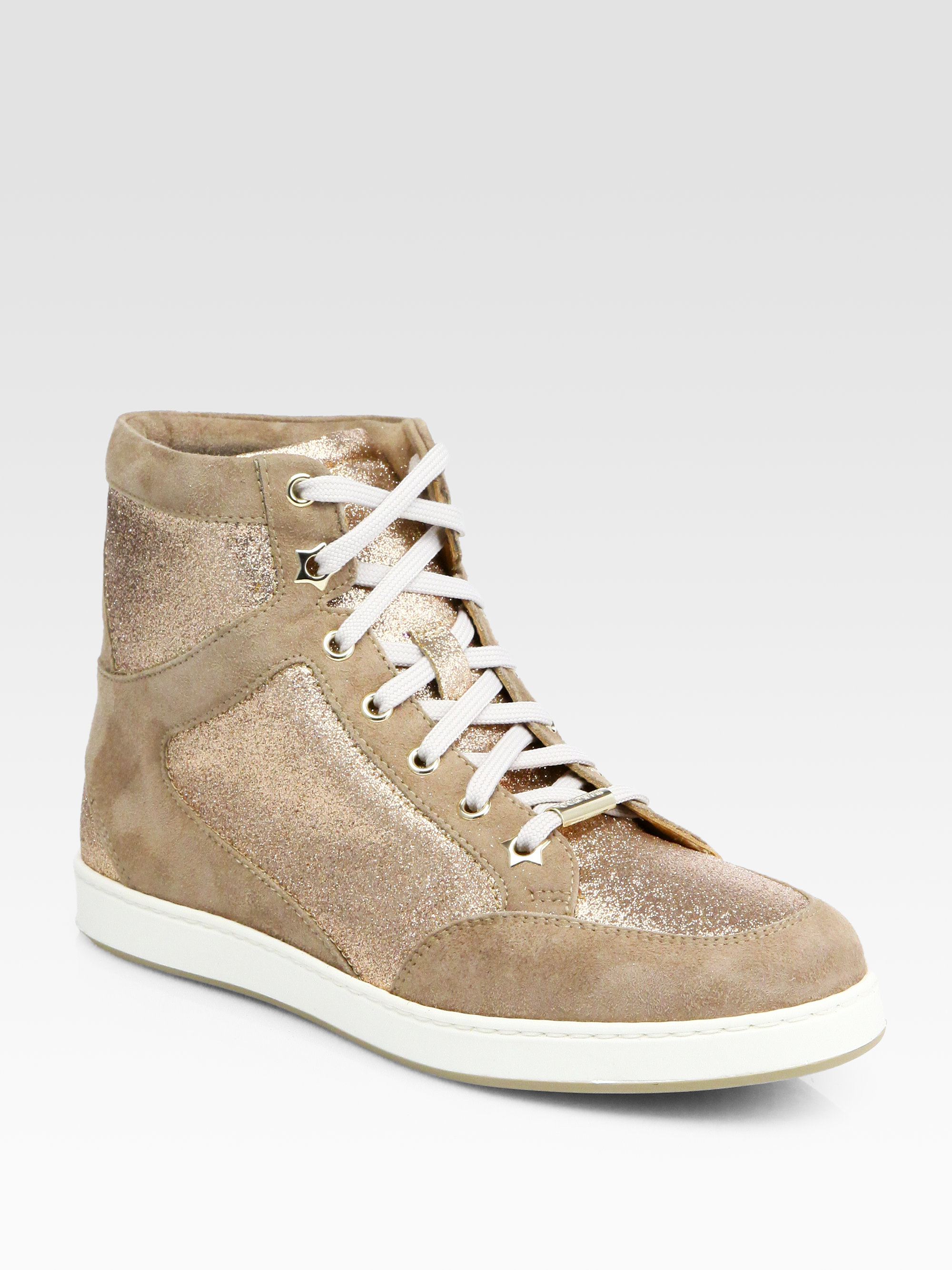 788bf68563c Lyst - Jimmy Choo Tokyo Glitter Suede Hightop Sneakers in Natural