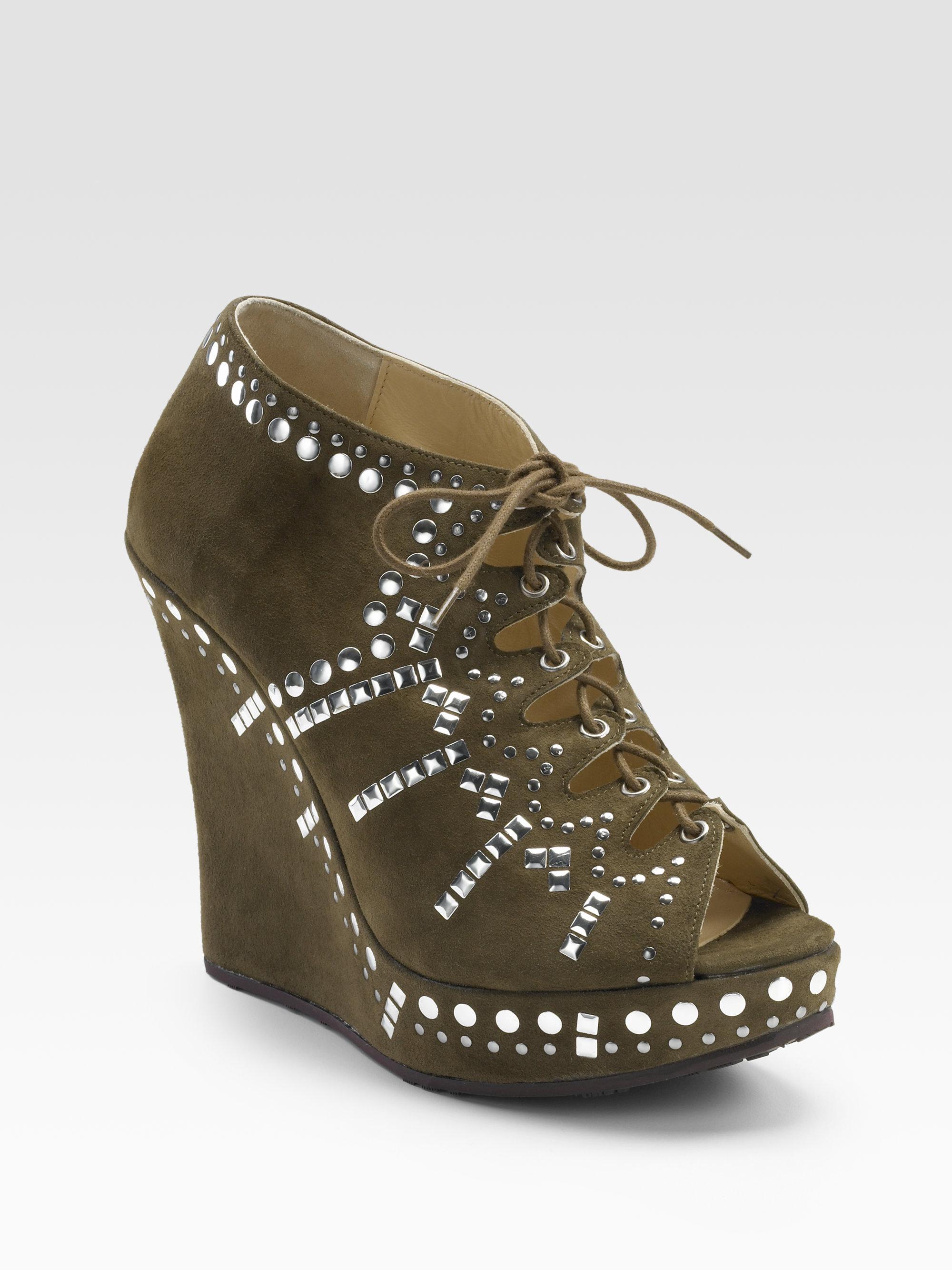 Jimmy Choo Pandora Suede Wedge Sandal Boots In Green