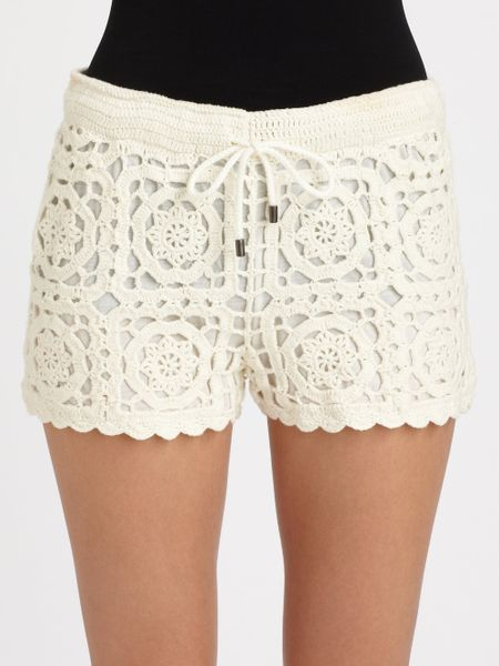 Free Crochet Pattern For Mens Shorts : Joie Carmelo Crochet Shorts in Beige (porcelain) Lyst