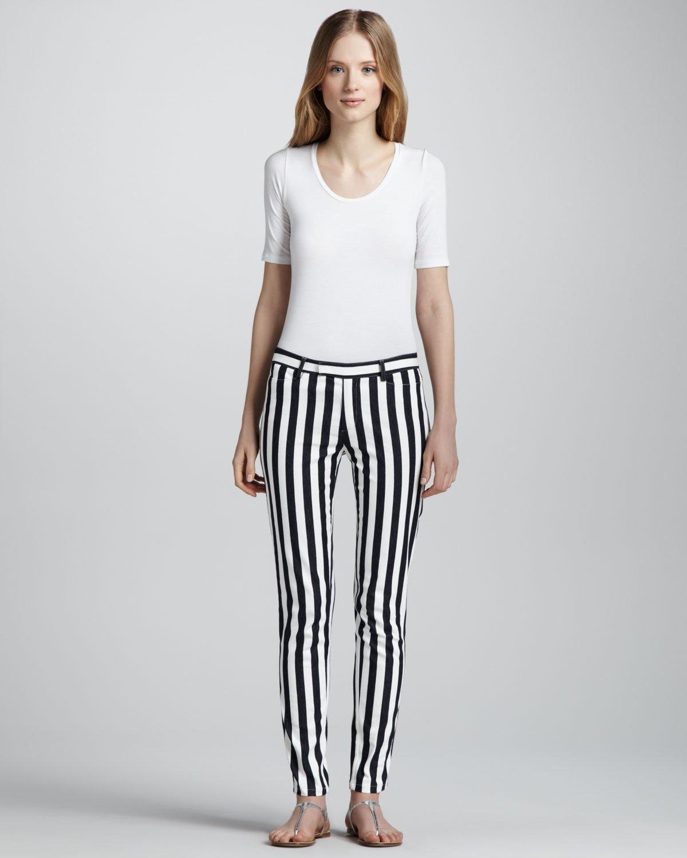 Nanette Lepore Taverna Panorama Slim Striped Pants In