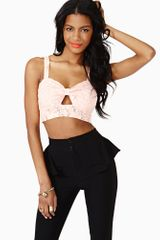 Nasty Gal Laced Bow Crop Top Peach - Lyst