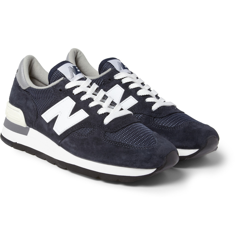 New Balance 990 Nubuck And Mesh Sneakers In Blue For Men