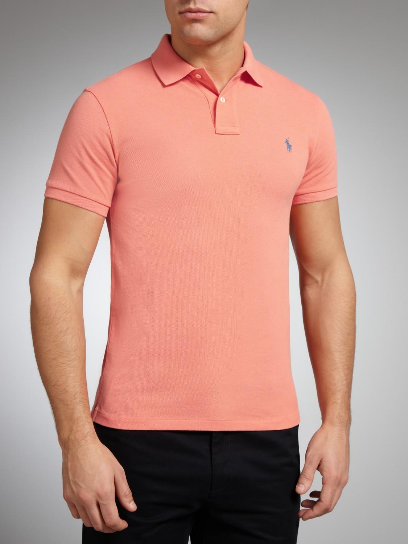 fff995fc7 ... get polo ralph lauren slim fit plain polo shirt in orange for men lyst  0c070 76289