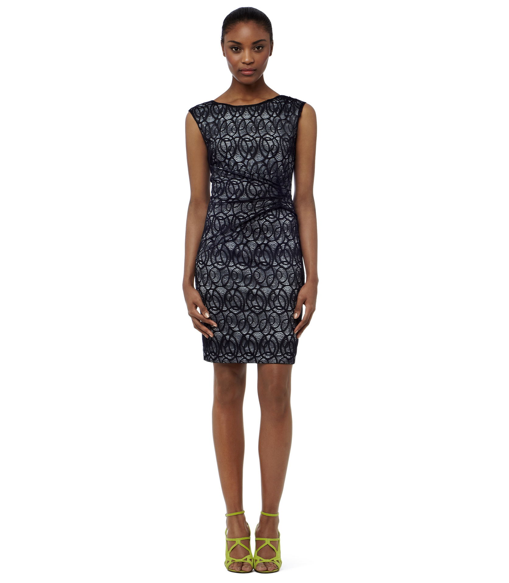 reiss navy alma gathered lace dress product 2 8120065 580588020