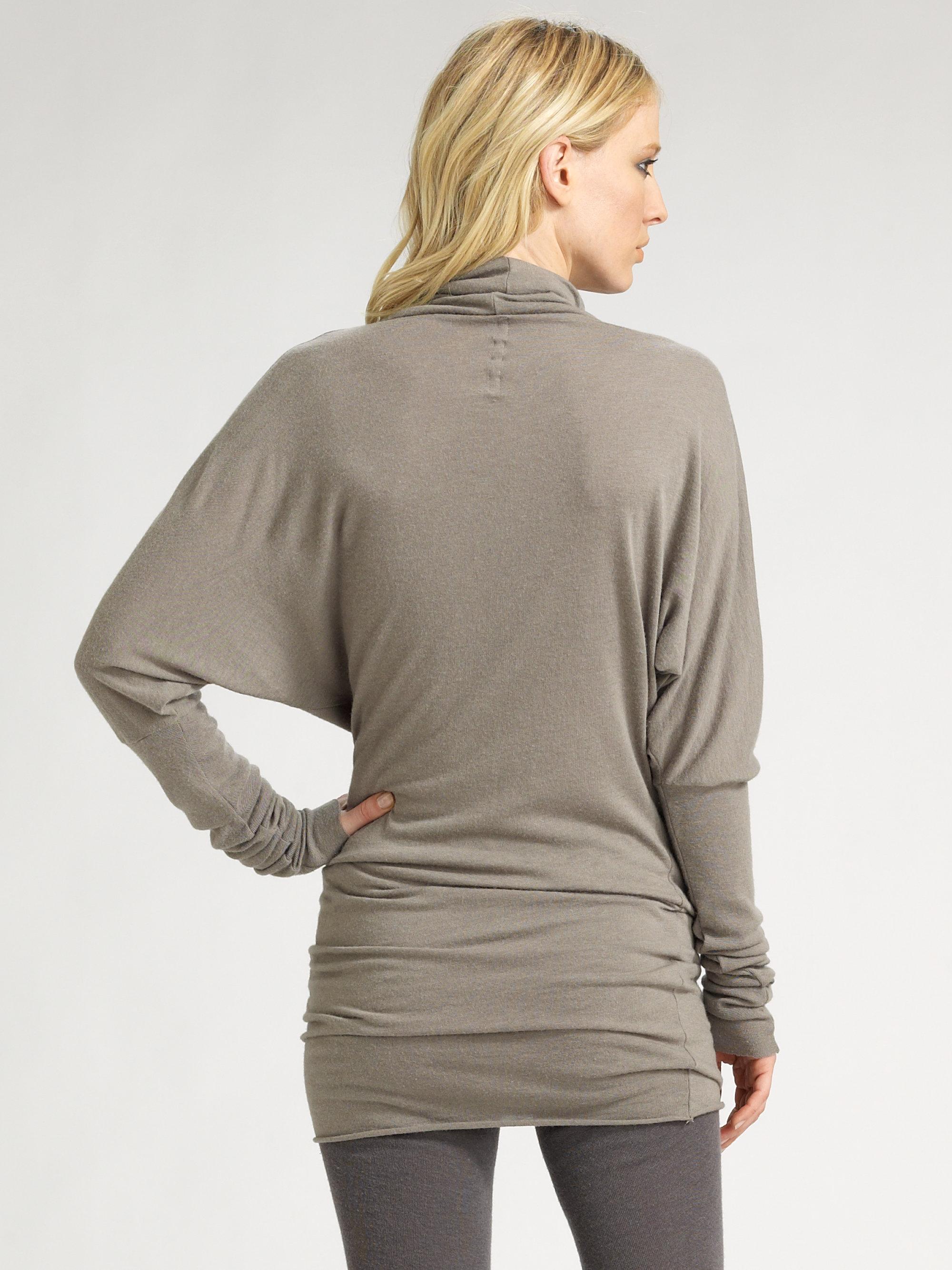 Rick owens lilies Dolman Sleeve Tunic Sweater in Gray | Lyst