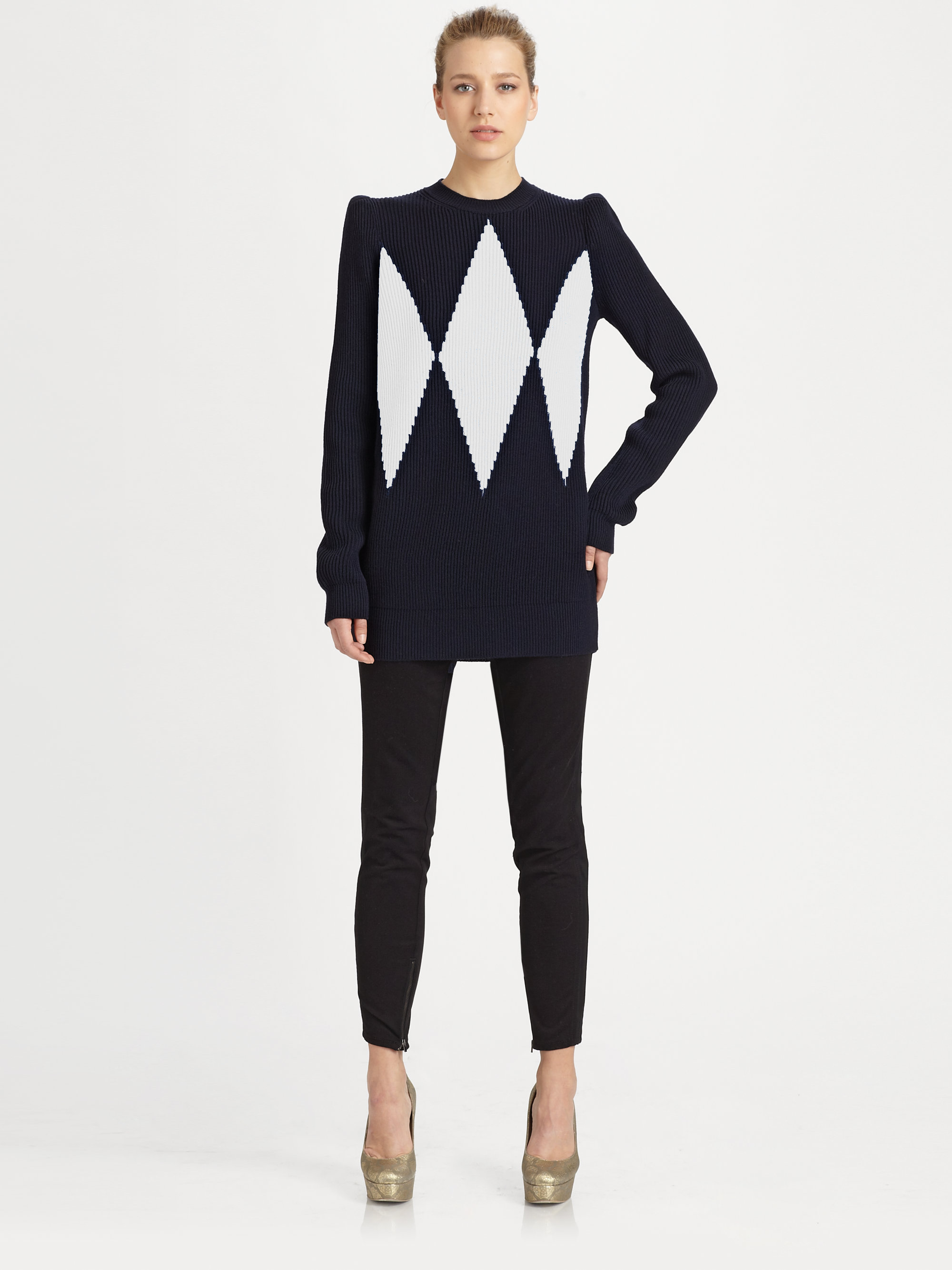 f37690a62 Lyst - Stella McCartney Charlie Brown Argyle Sweater in Black