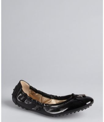 Tod's Black Patent Leather Ballerina Flats - Lyst