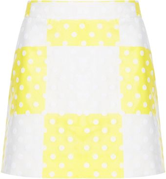 Topshop Yellow Check Flock Spot Mini Skirt - Lyst