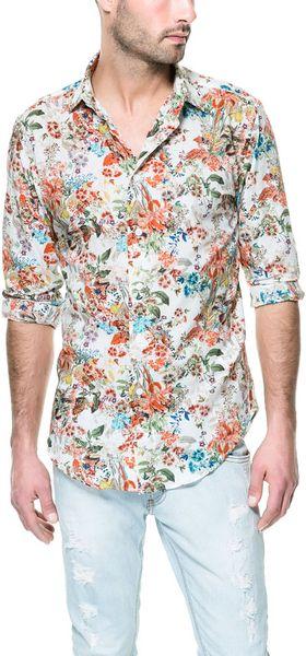 Zara floral print shirt in orange for men lyst for Zara mens floral shirt