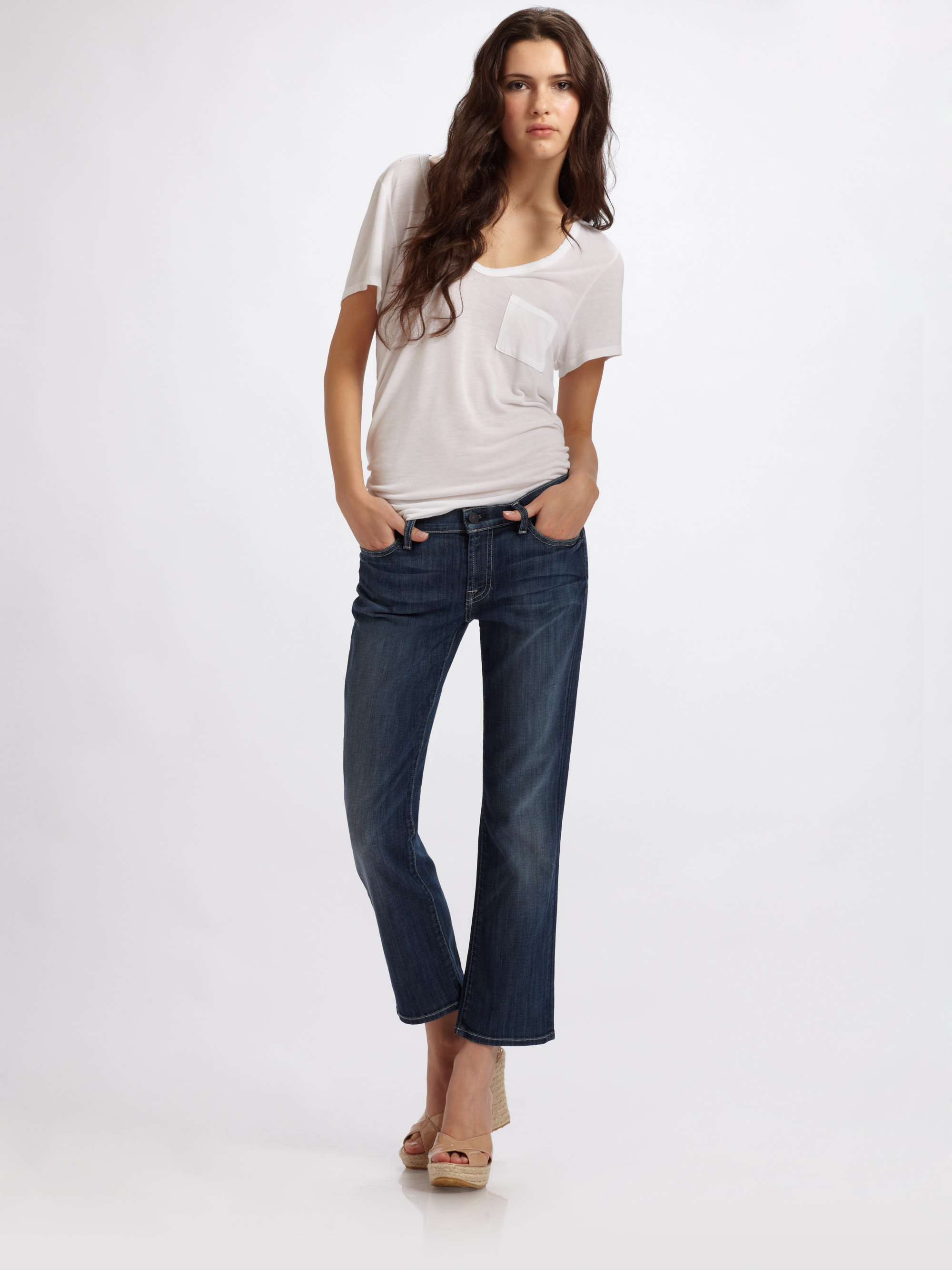 7 for all mankind Cropped Flare Jeans in Blue | Lyst