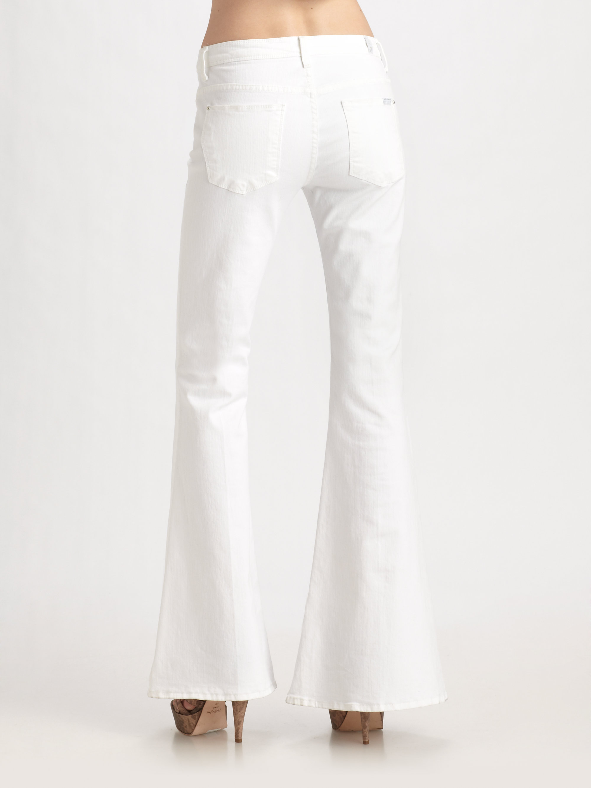 7 for all mankind Bell Bottom Jeans in White | Lyst