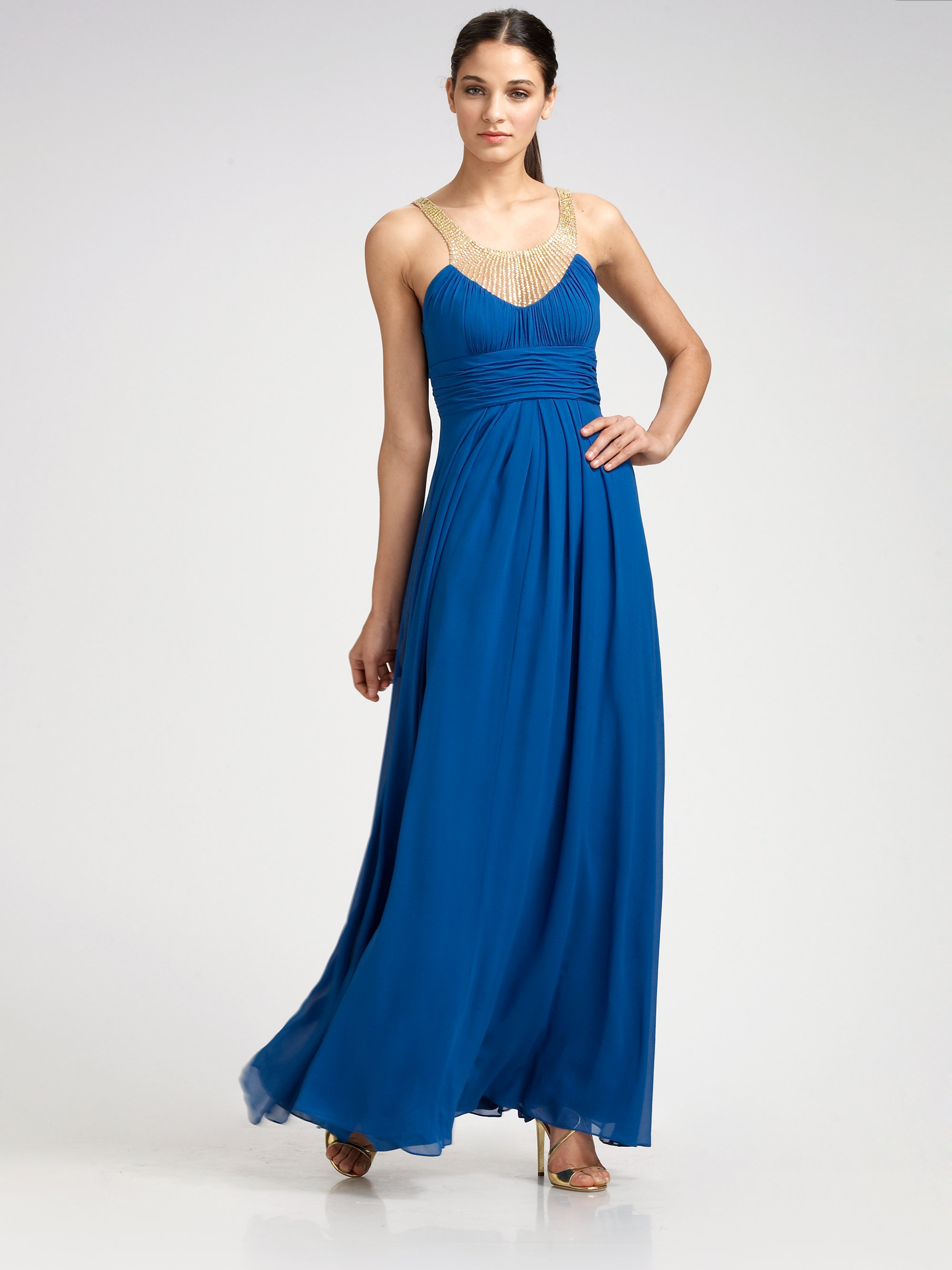 Aidan mattox Silk Chiffon Necklace Gown in Blue | Lyst
