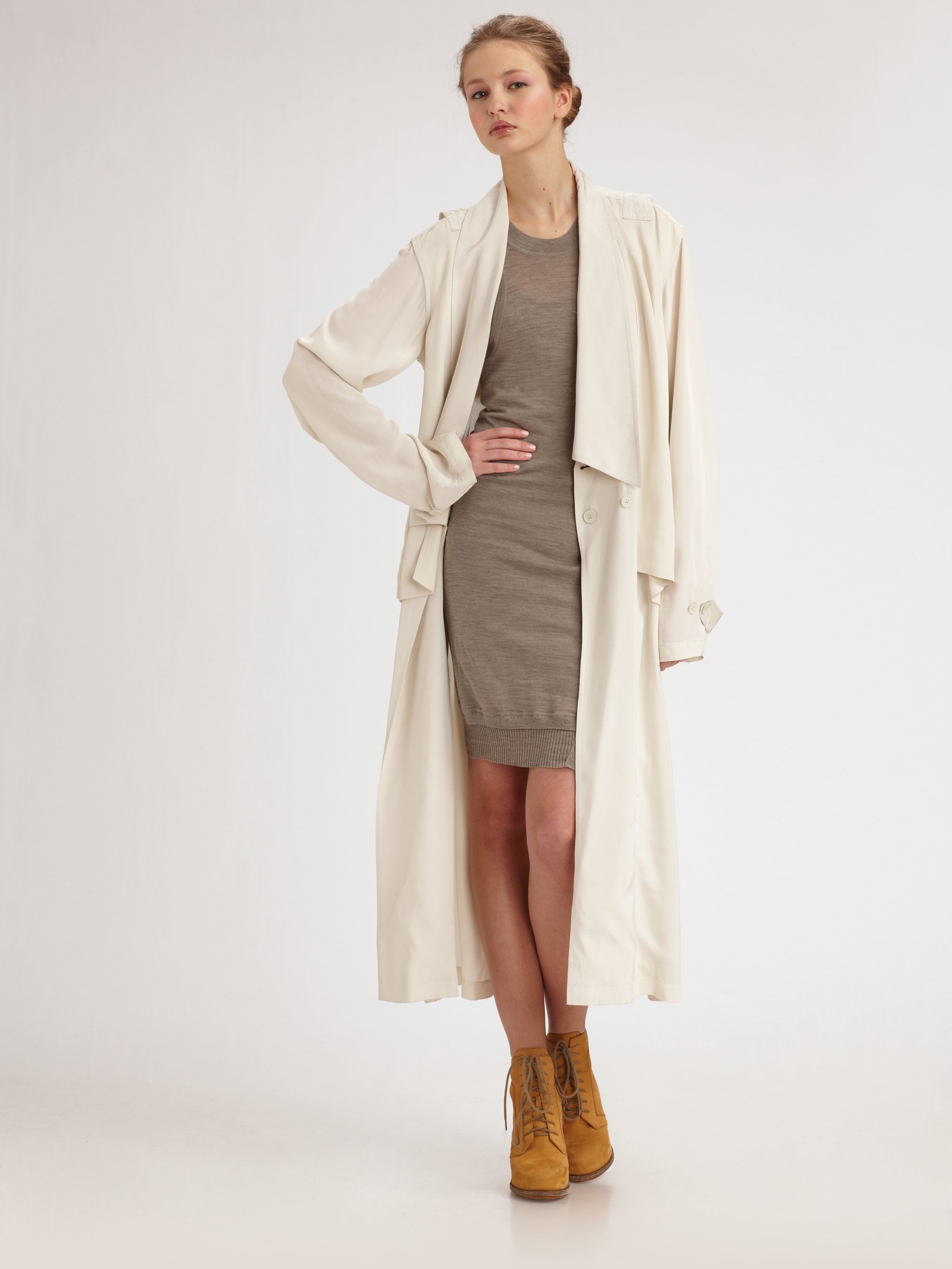 Alexander wang Long Trenchcoat in White | Lyst