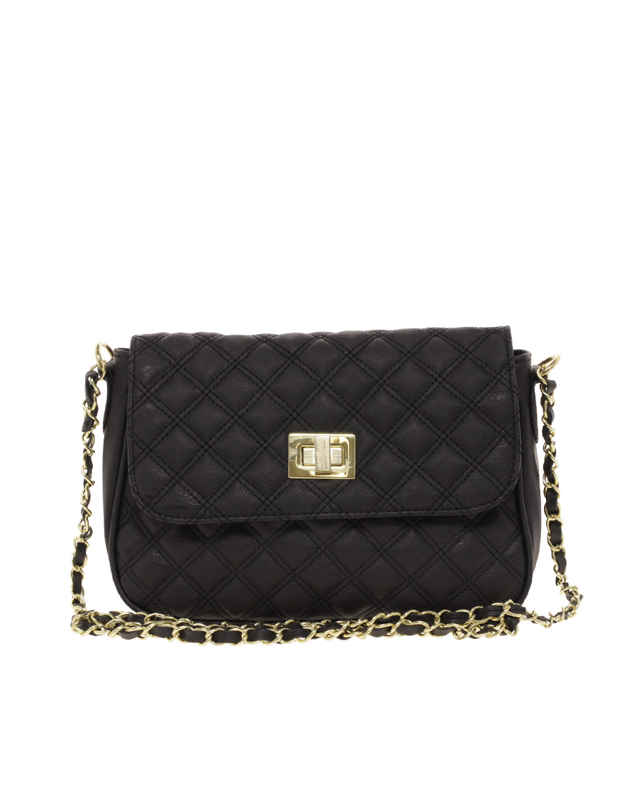 Asos Quilted Lock Across Body Bag In Black Lyst
