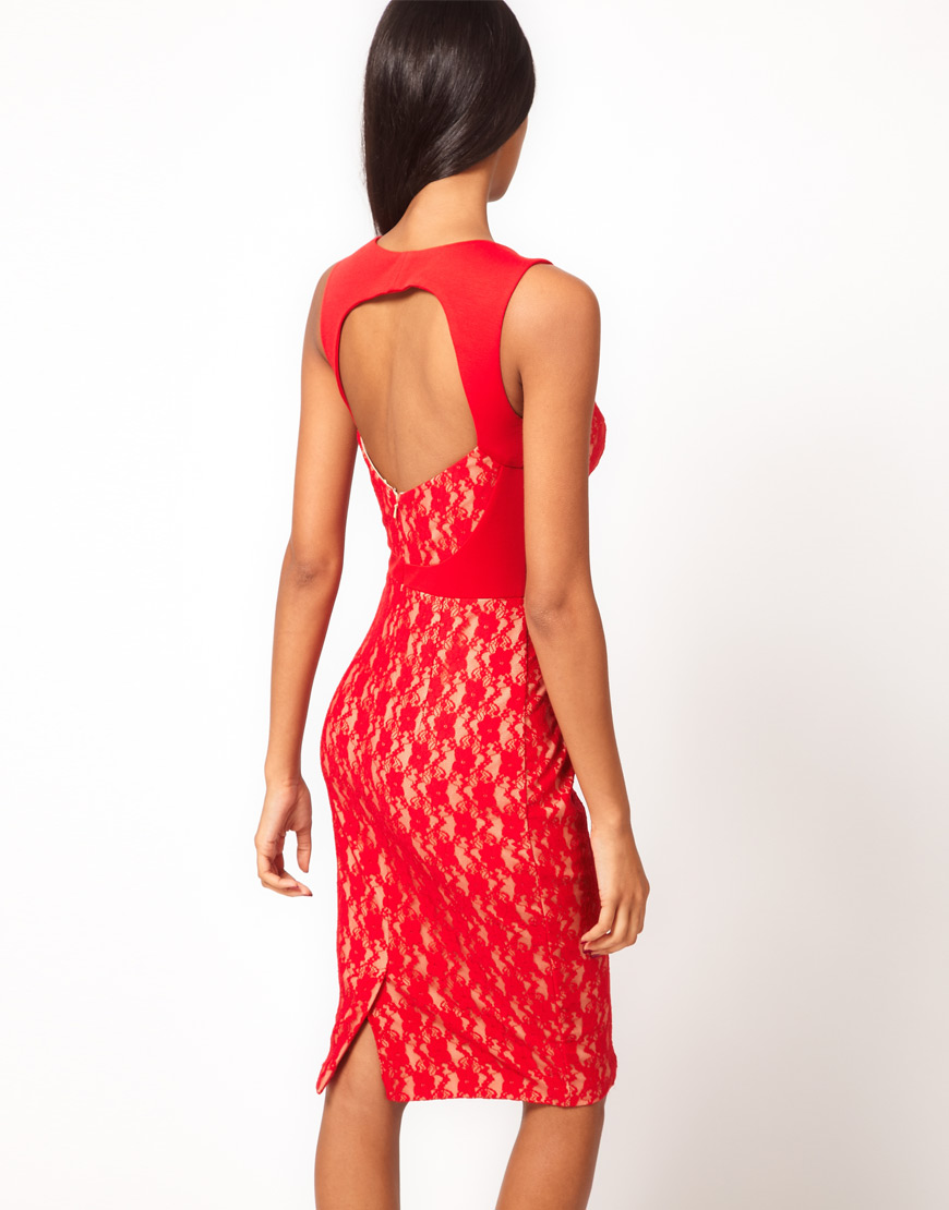 2f6ca894d56e Lyst - ASOS Sexy Midi Pencil with Lace Insert in Red