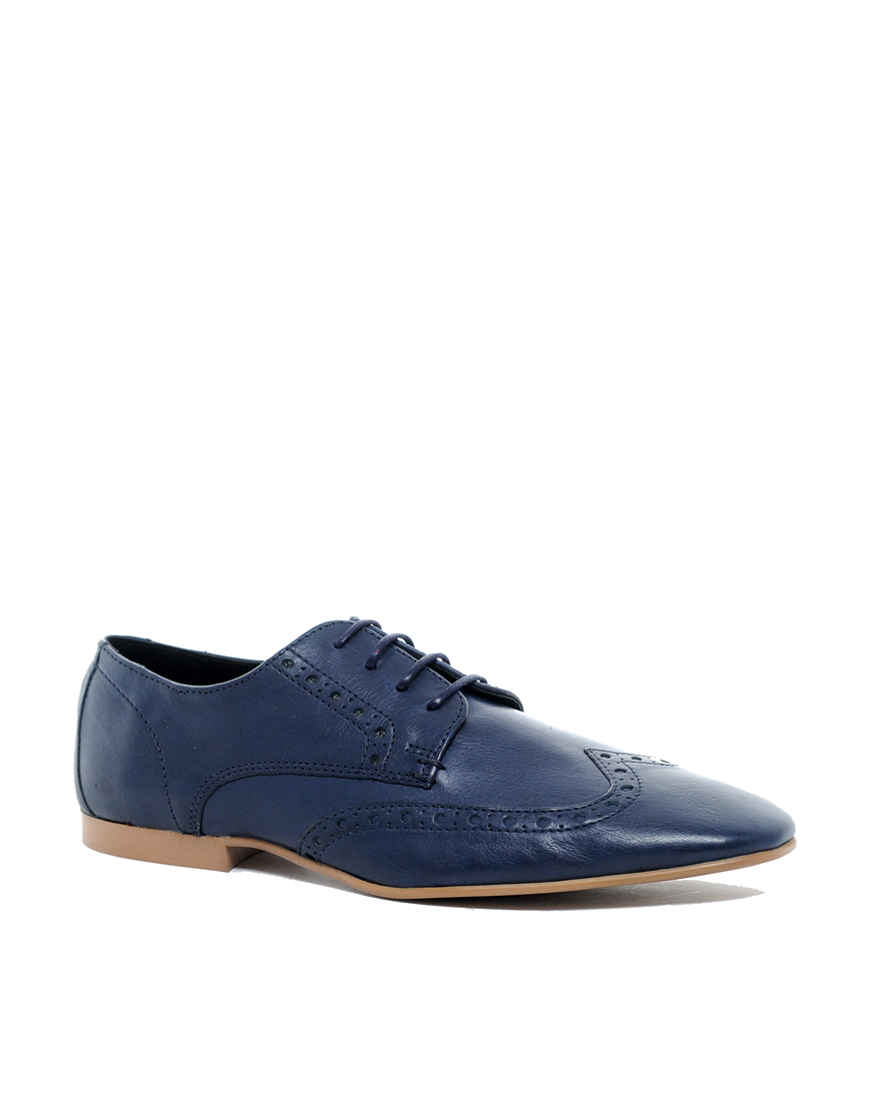 asos brogue shoes in leather in blue for navyleather