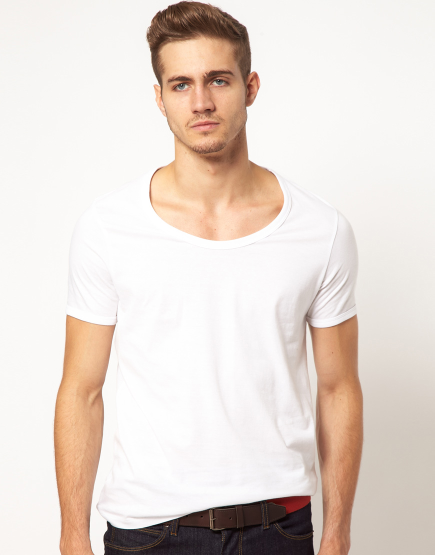 Lyst Asos T Shirt With Bound Scoop Neck In White For Men