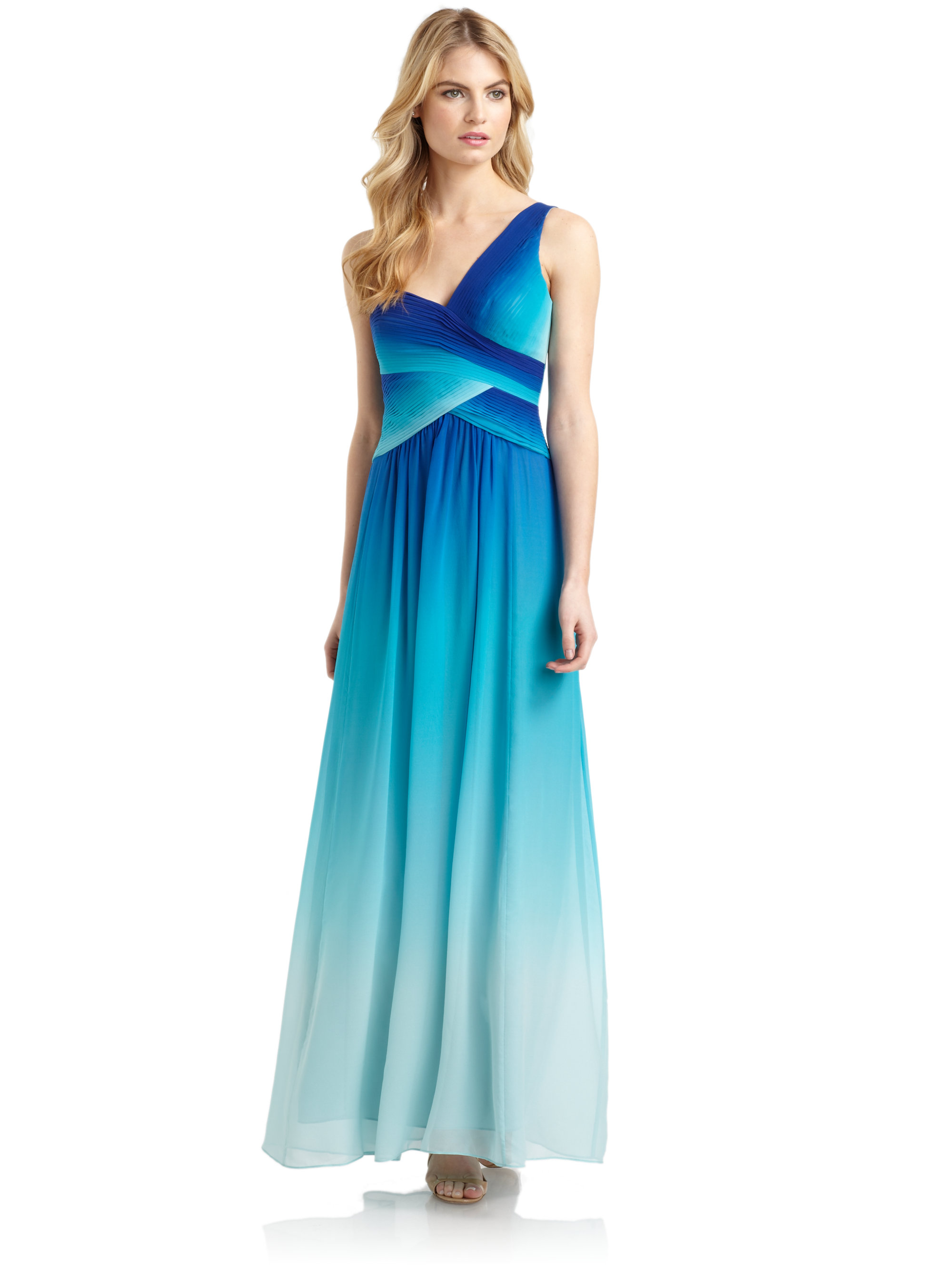 Lyst - Bcbgmaxazria Timoa Silk Chiffon Ombre One-shoulder Gown in Blue