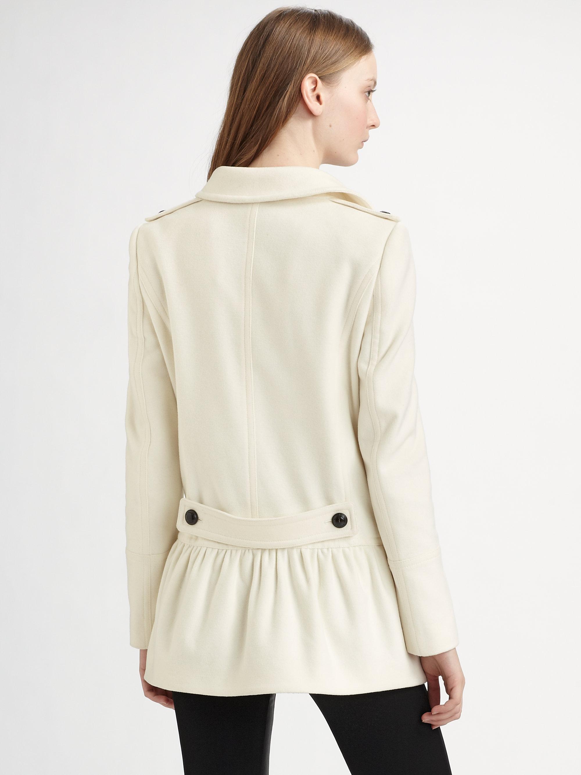 Winter white peplum coat