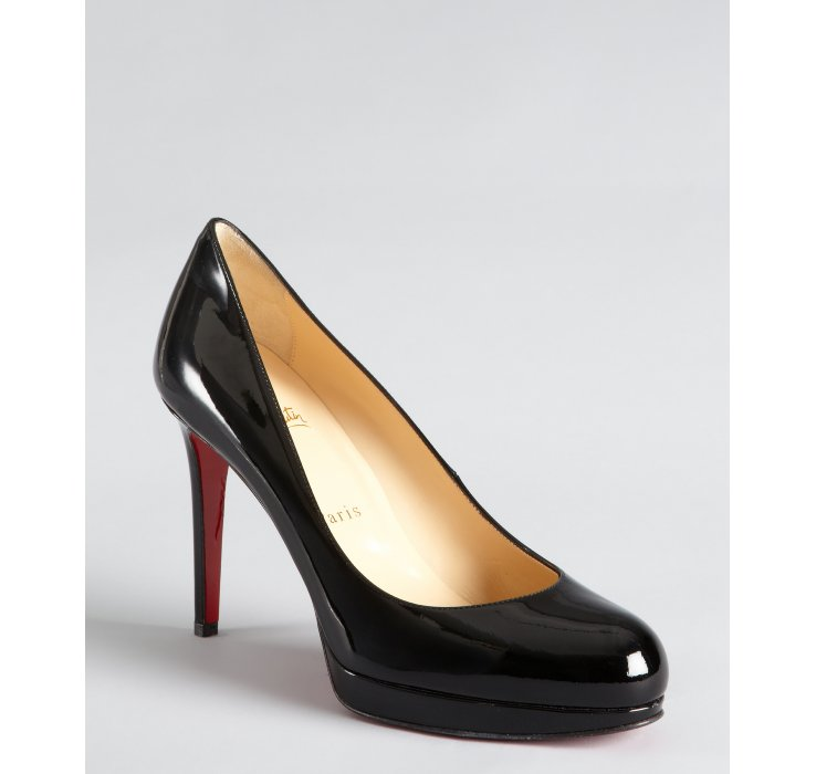 Lyst - Christian Louboutin Black Patent Leather Round Toe Platform ... e90ff45741