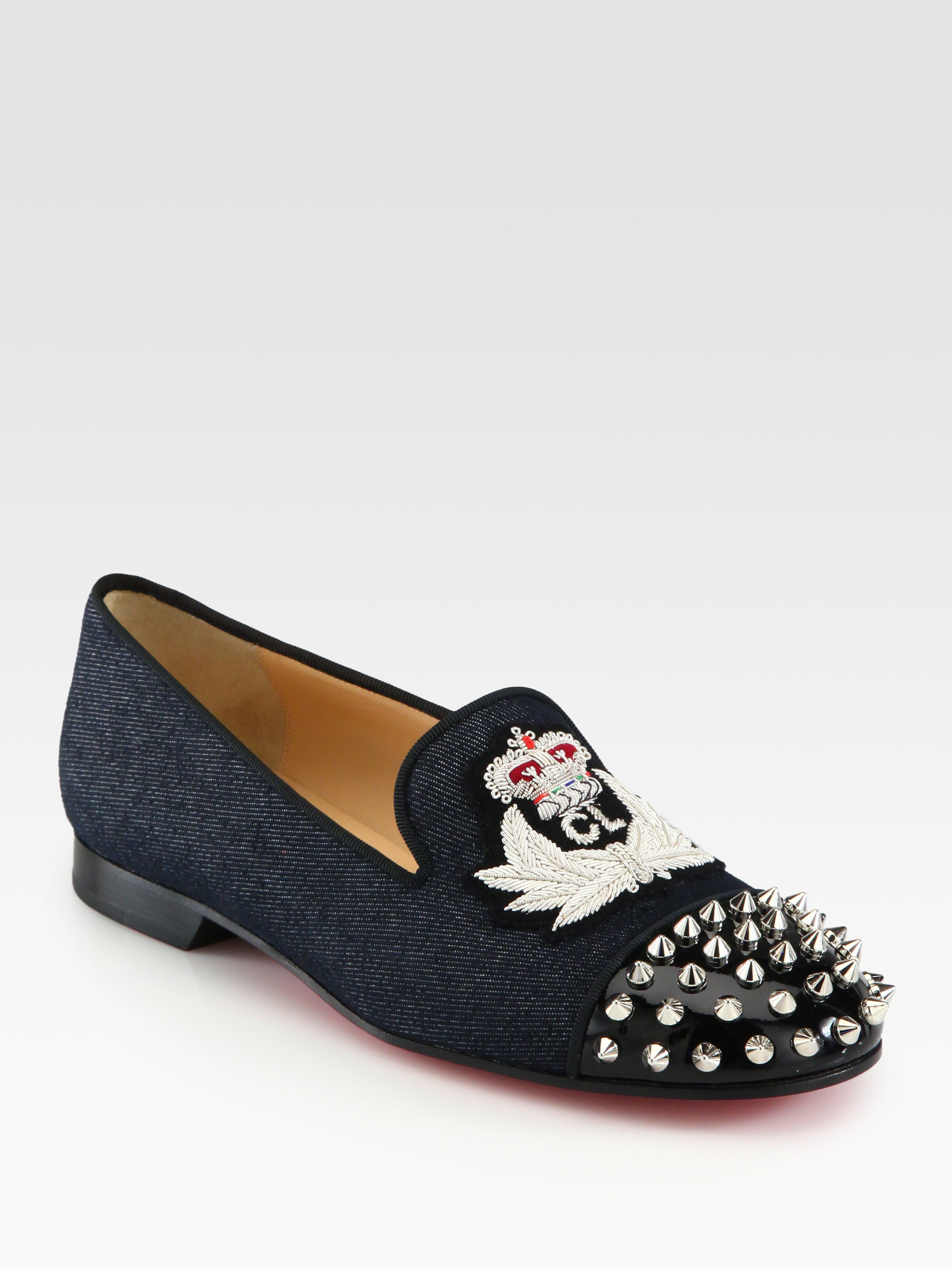 Christian louboutin Intern Spiked Denim Patent Leather Loafers in ...