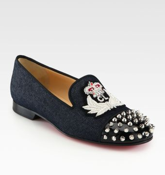 Christian Louboutin Intern Spiked Denim Patent Leather Loafers - Lyst