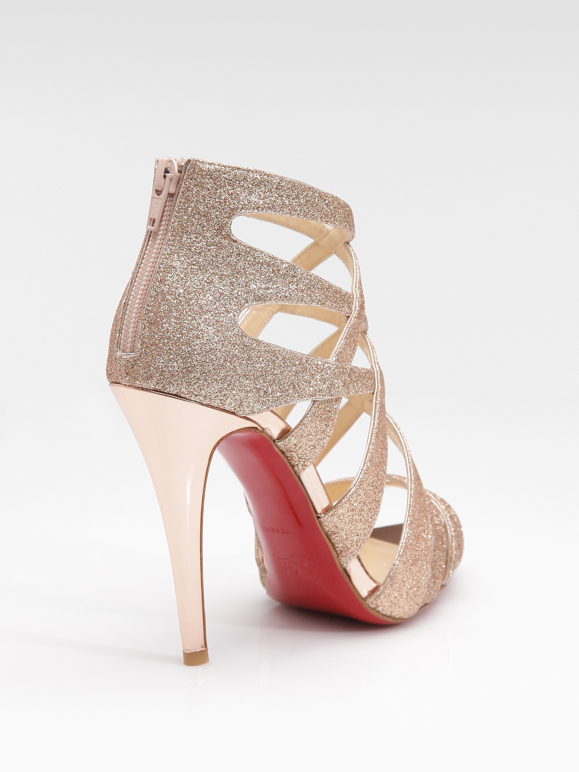 louboutin gold strappy heels